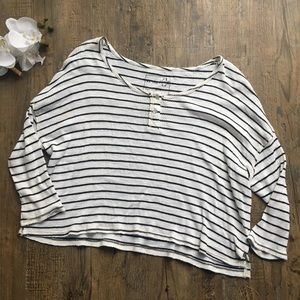 we the free black and white stripe thermal tee L
